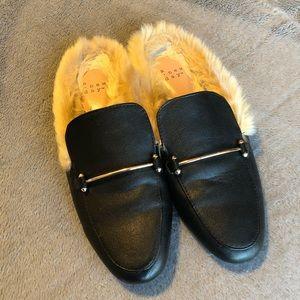Black Mules with Faux Fur